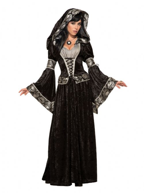 Ladies Dark Sorceress Costume Sorcerer Witch Halloween Fancy Dress Outfit